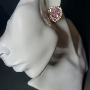 Cute Crafted Pink Heart Stone,Lined w Rhinestones
